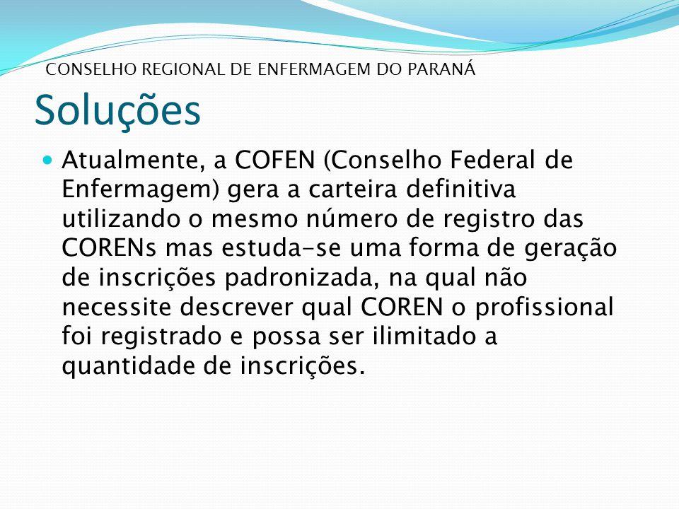 Soluções Atualmente, a COFEN (Conselho Federal de Enfermagem) gera a carteira definitiva utilizando o mesmo número de registro das CORENs mas estuda-s