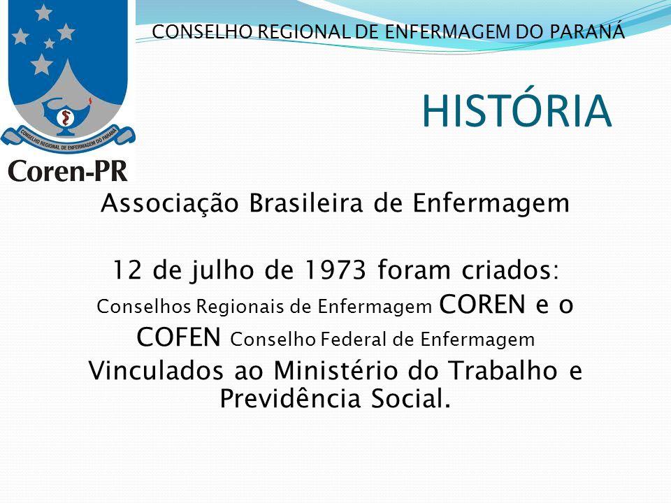 HISTÓRIA Associação Brasileira de Enfermagem 12 de julho de 1973 foram criados: Conselhos Regionais de Enfermagem COREN e o COFEN Conselho Federal de