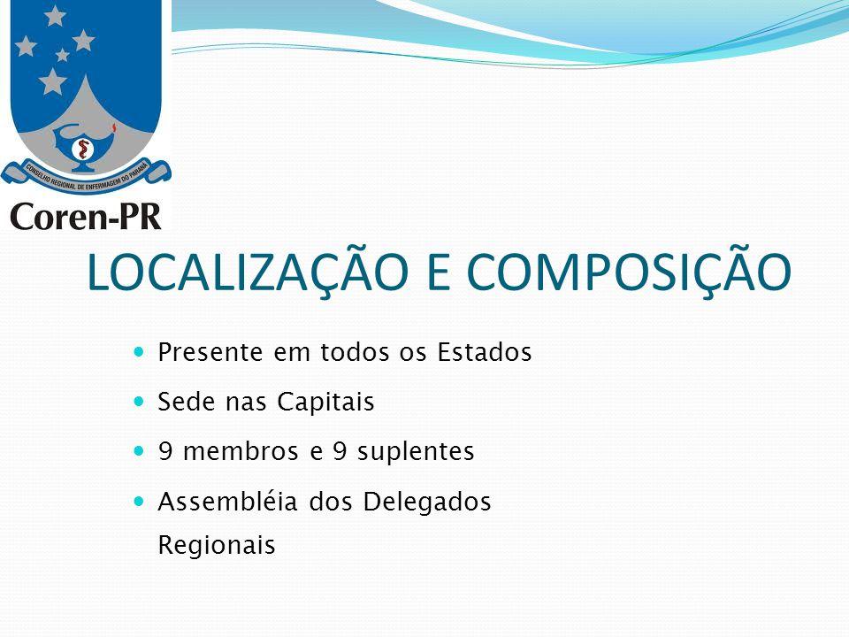 LOCALIZAÇÃO E COMPOSIÇÃO Presente em todos os Estados Sede nas Capitais 9 membros e 9 suplentes Assembléia dos Delegados Regionais