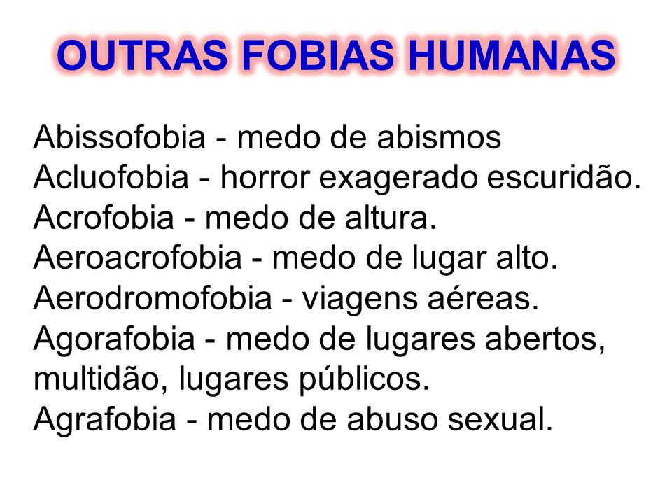Abissofobia - medo de abismos Acluofobia - horror exagerado escuridão. Acrofobia - medo de altura. Aeroacrofobia - medo de lugar alto. Aerodromofobia