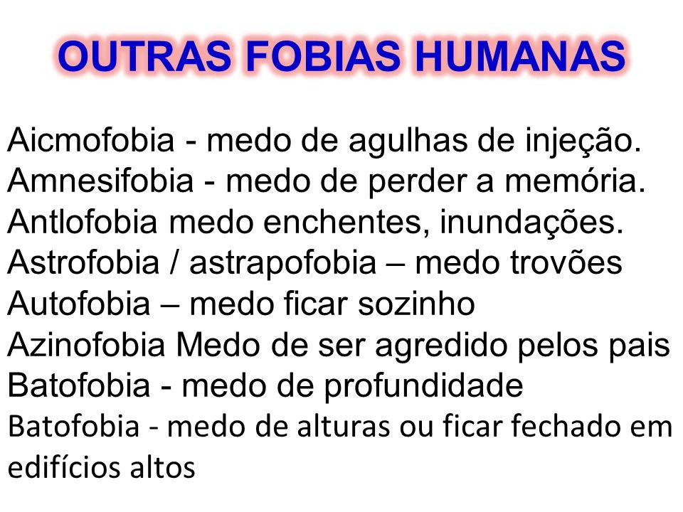 Aicmofobia - medo de agulhas de injeção. Amnesifobia - medo de perder a memória. Antlofobia medo enchentes, inundações. Astrofobia / astrapofobia – me