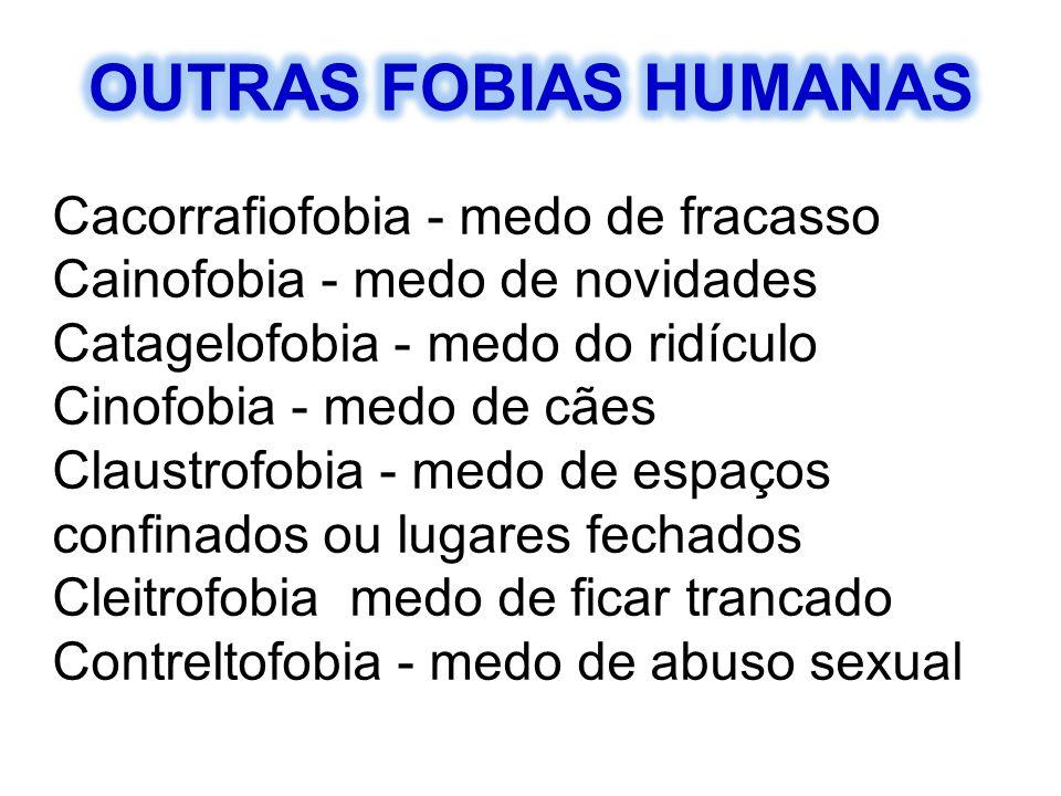 Cacorrafiofobia - medo de fracasso Cainofobia - medo de novidades Catagelofobia - medo do ridículo Cinofobia - medo de cães Claustrofobia - medo de es