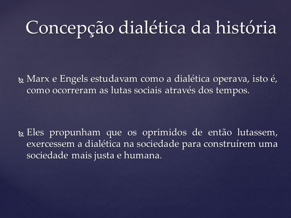 Marx e Engels estudavam como a dialética operava, isto é, como ocorreram as lutas sociais através dos tempos. Marx e Engels estudavam como a dialética