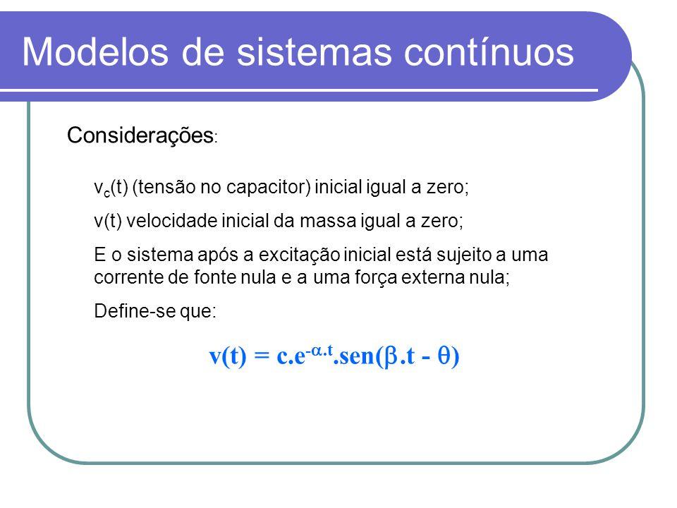 Modelos de sistemas contínuos v c (t) (tensão no capacitor) inicial igual a zero; v(t) velocidade inicial da massa igual a zero; E o sistema após a ex