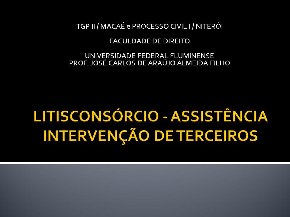 TGP II / MACAÉ e PROCESSO CIVIL I / NITERÓI FACULDADE DE DIREITO UNIVERSIDADE FEDERAL FLUMINENSE PROF. JOSÉ CARLOS DE ARAÚJO ALMEIDA FILHO