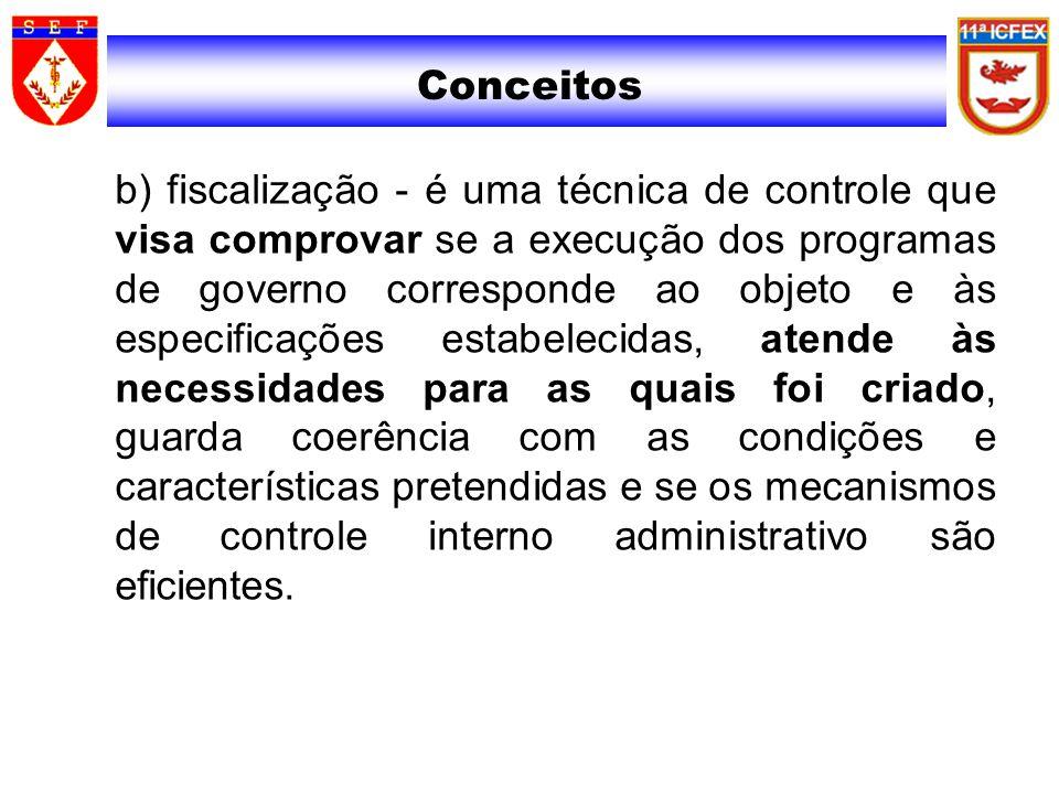 Conceitos b) fiscalização - é uma técnica de controle que visa comprovar se a execução dos programas de governo corresponde ao objeto e às especificaç