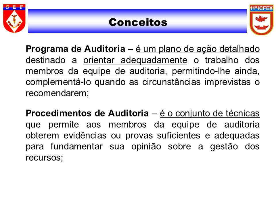 Conceitos Programa de Auditoria – é um plano de ação detalhado destinado a orientar adequadamente o trabalho dos membros da equipe de auditoria, permi