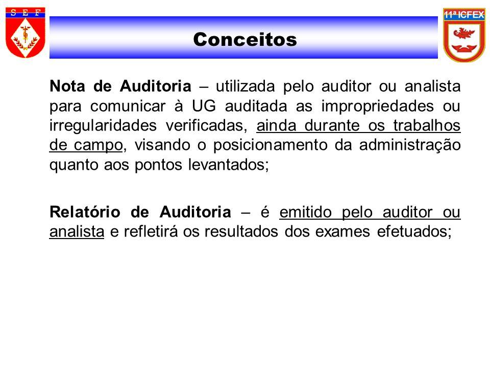 Conceitos Nota de Auditoria – utilizada pelo auditor ou analista para comunicar à UG auditada as impropriedades ou irregularidades verificadas, ainda