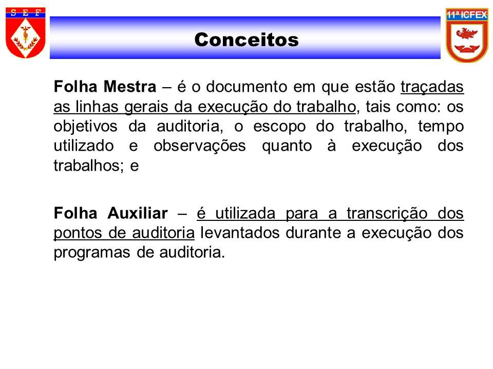 Conceitos Folha Mestra – é o documento em que estão traçadas as linhas gerais da execução do trabalho, tais como: os objetivos da auditoria, o escopo