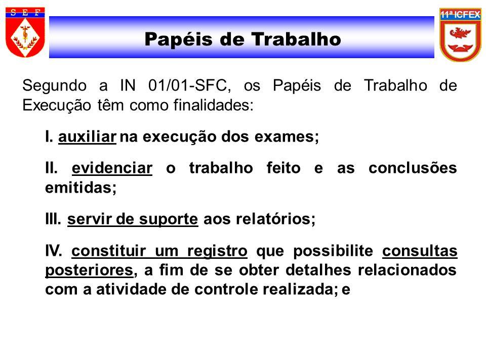 Papéis de Trabalho Segundo a IN 01/01-SFC, os Papéis de Trabalho de Execução têm como finalidades: I. auxiliar na execução dos exames; II. evidenciar