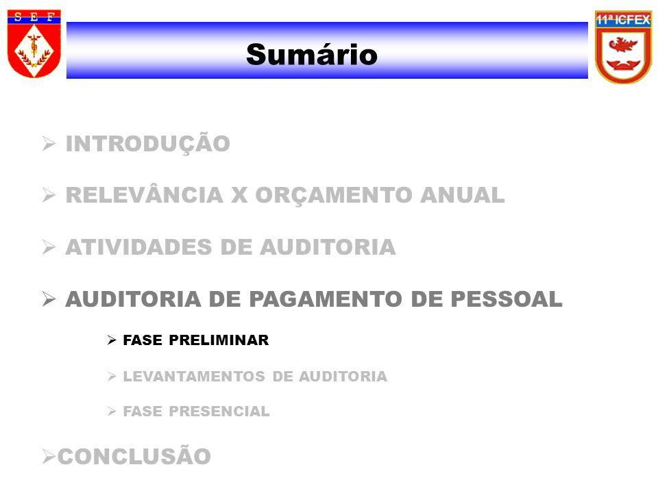 Sumário INTRODUÇÃO RELEVÂNCIA X ORÇAMENTO ANUAL ATIVIDADES DE AUDITORIA AUDITORIA DE PAGAMENTO DE PESSOAL FASE PRELIMINAR LEVANTAMENTOS DE AUDITORIA F