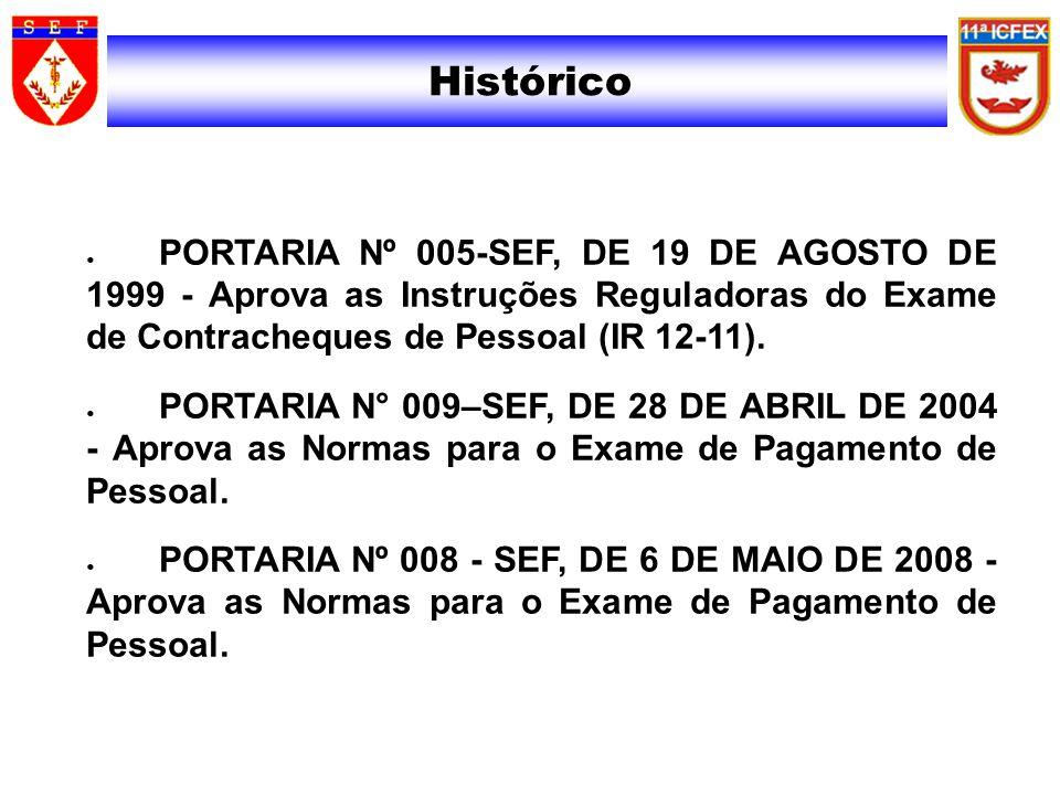 Histórico PORTARIA Nº 005-SEF, DE 19 DE AGOSTO DE 1999 - Aprova as Instruções Reguladoras do Exame de Contracheques de Pessoal (IR 12-11). PORTARIA N°