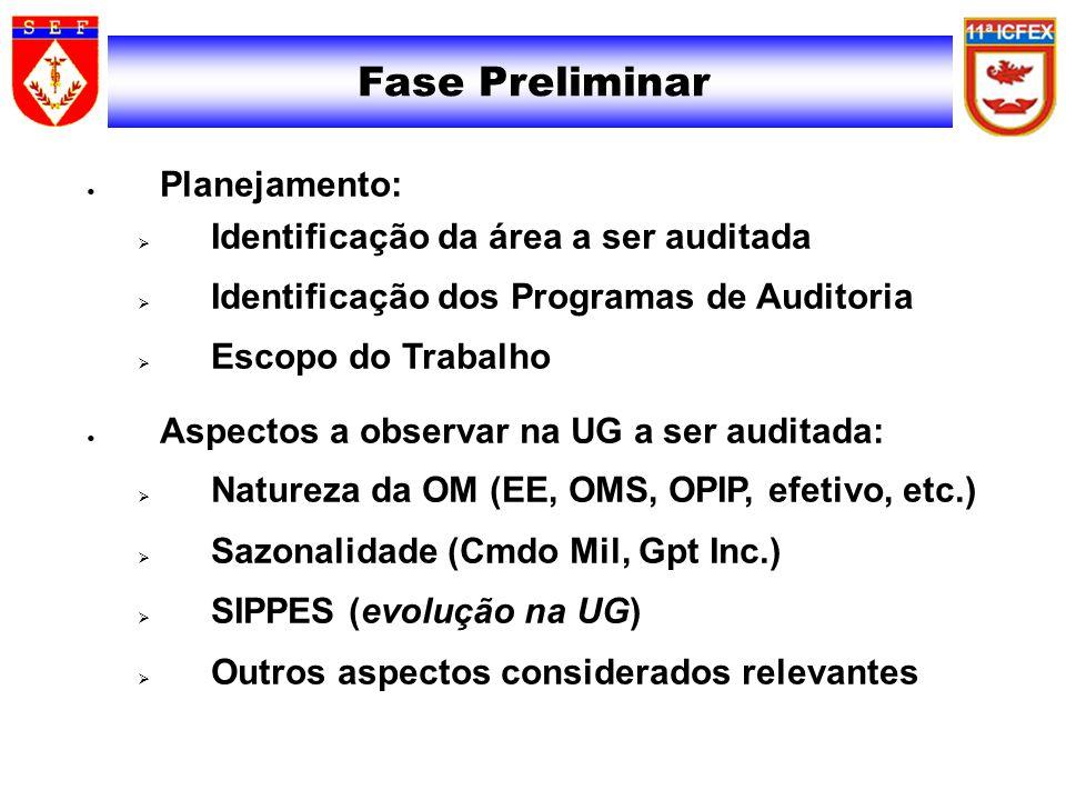 Fase Preliminar Planejamento: Identificação da área a ser auditada Identificação dos Programas de Auditoria Escopo do Trabalho Aspectos a observar na