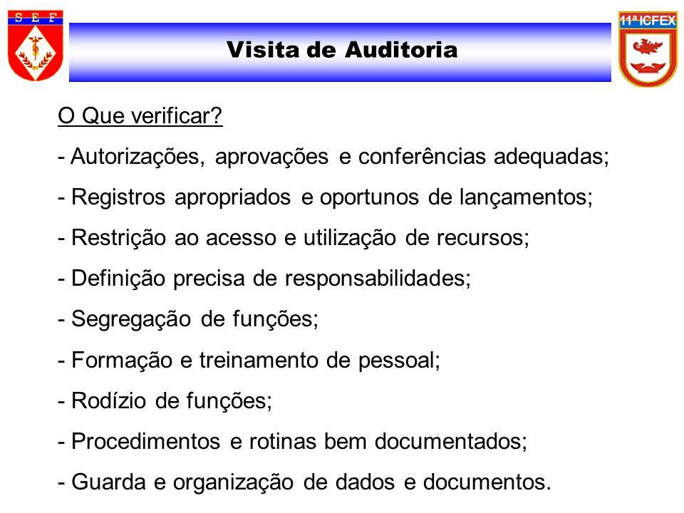 Visita de Auditoria O Que verificar? - Autorizações, aprovações e conferências adequadas; - Registros apropriados e oportunos de lançamentos; - Restri