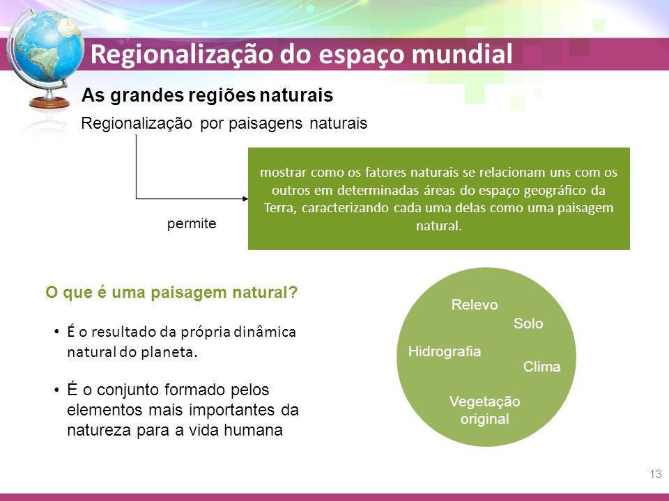 Regionalização do espaço mundial As grandes regiões naturais Regionalização por paisagens naturais mostrar como os fatores naturais se relacionam uns
