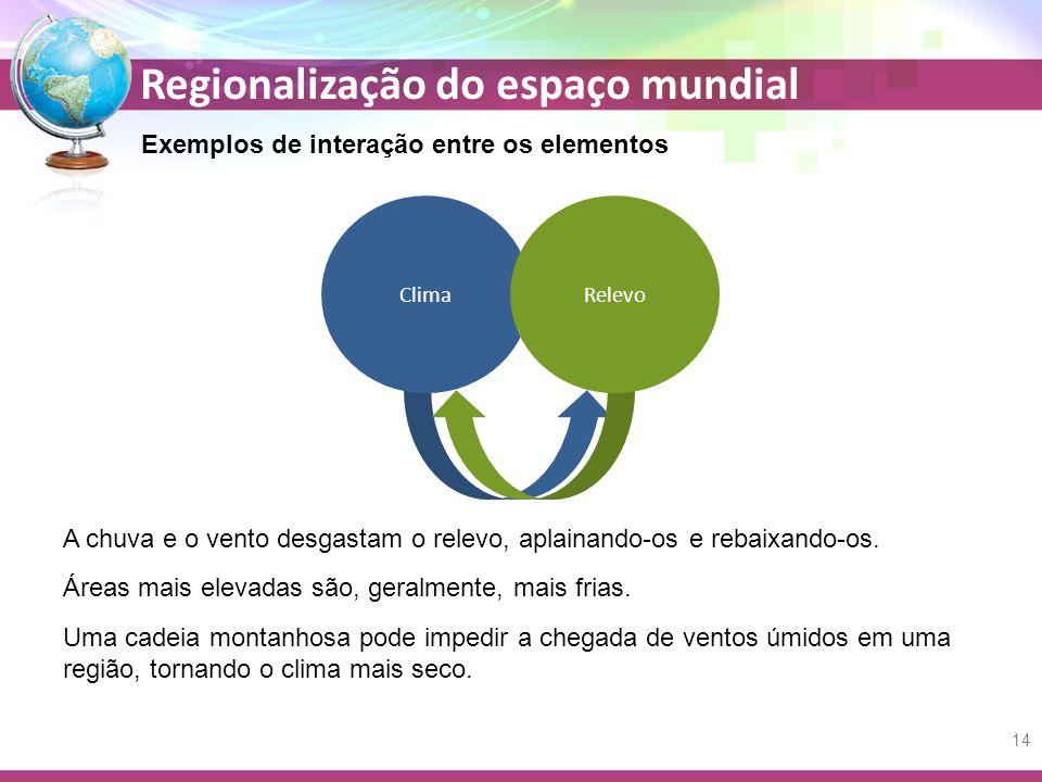 Regionalização do espaço mundial Exemplos de interação entre os elementos Áreas mais elevadas são, geralmente, mais frias. Uma cadeia montanhosa pode