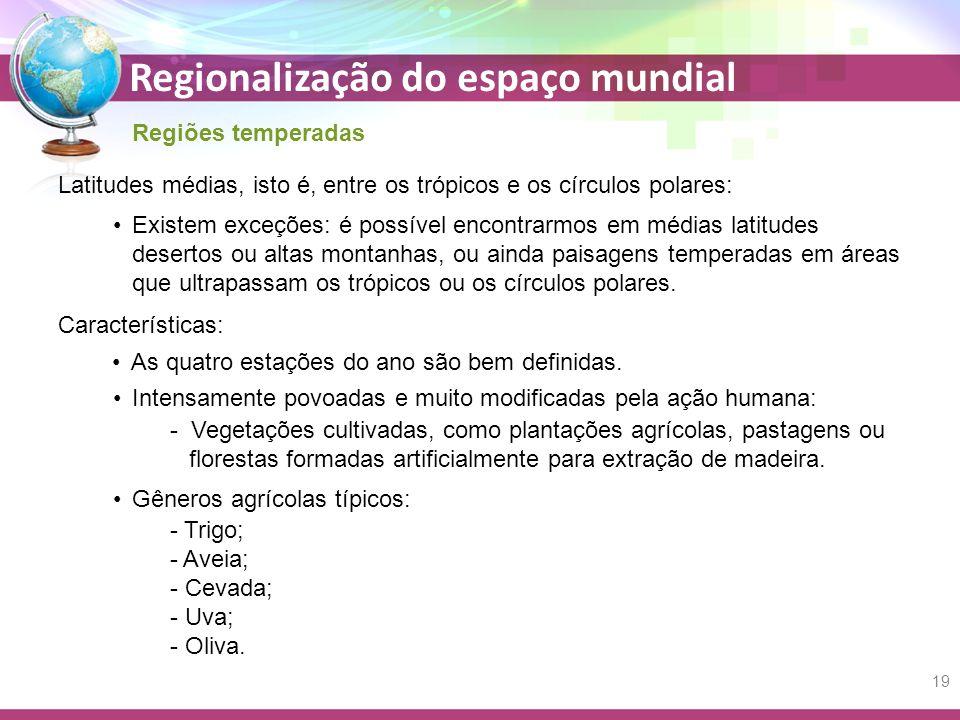 Regionalização do espaço mundial Regiões temperadas Latitudes médias, isto é, entre os trópicos e os círculos polares: Existem exceções: é possível en