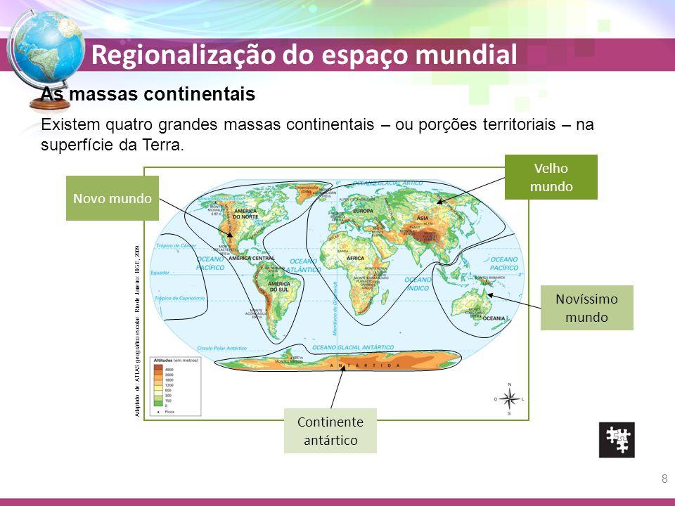 Regionalização do espaço mundial Existem quatro grandes massas continentais – ou porções territoriais – na superfície da Terra. Velho mundo Novíssimo