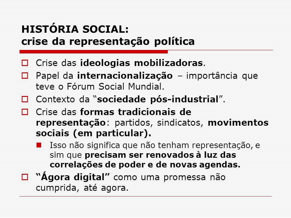 HISTÓRIA SOCIAL: crise da representação política Crise das ideologias mobilizadoras. Papel da internacionalização – importância que teve o Fórum Socia