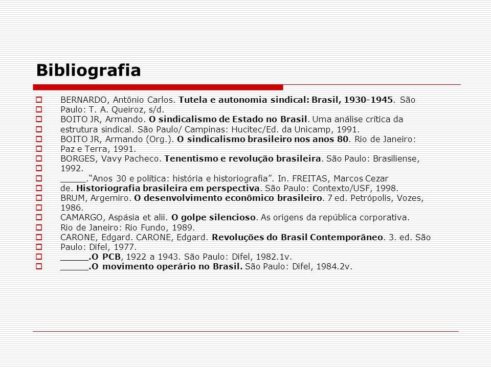 Bibliografia BERNARDO, Antônio Carlos. Tutela e autonomia sindical: Brasil, 1930-1945. São Paulo: T. A. Queiroz, s/d. BOITO JR, Armando. O sindicalism