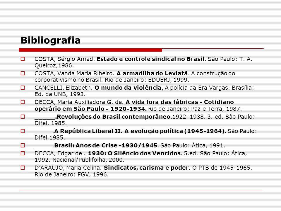 Bibliografia COSTA, Sérgio Amad. Estado e controle sindical no Brasil. São Paulo: T. A. Queiroz,1986. COSTA, Vanda Maria Ribeiro. A armadilha do Levia