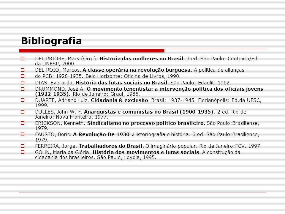 Bibliografia DEL PRIORE, Mary (Org.). História das mulheres no Brasil. 3 ed. São Paulo: Contexto/Ed. da UNESP, 2000. DEL ROIO, Marcos. A classe operár