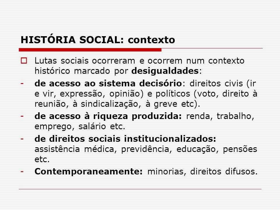 HISTÓRIA SOCIAL: contexto Lutas sociais ocorreram e ocorrem num contexto histórico marcado por desigualdades: -de acesso ao sistema decisório: direito