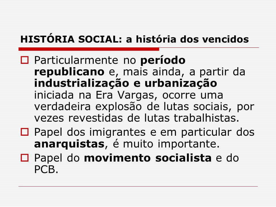 HISTÓRIA SOCIAL: a história dos vencidos Particularmente no período republicano e, mais ainda, a partir da industrialização e urbanização iniciada na