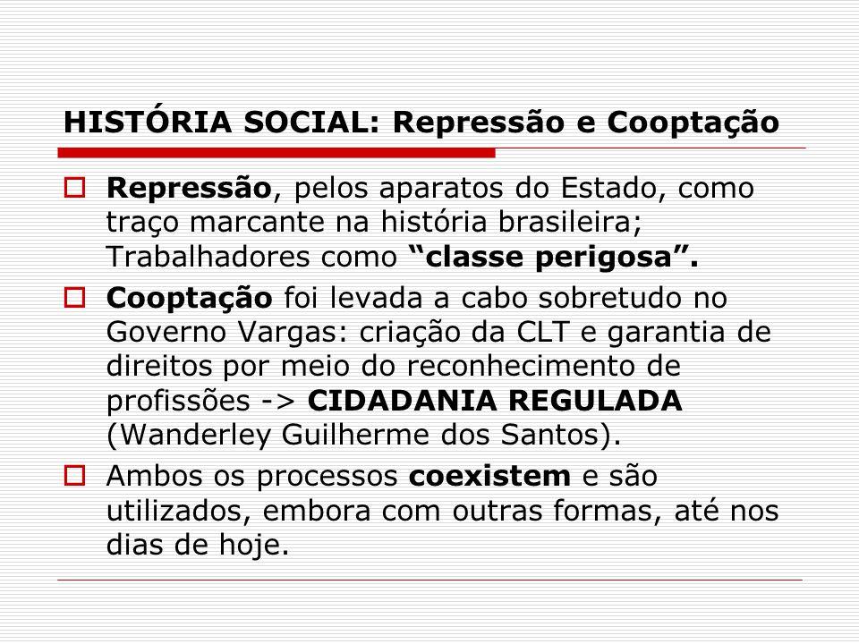 HISTÓRIA SOCIAL: Repressão e Cooptação Contemporaneamente, a chamadacriminalização dos movimentos sociais tem sido a estratégia mais utilizada: por meio legal, institucional e pela mídia.