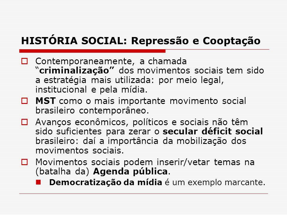 HISTÓRIA SOCIAL: Repressão e Cooptação Contemporaneamente, a chamadacriminalização dos movimentos sociais tem sido a estratégia mais utilizada: por me