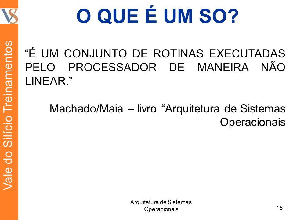 O QUE É UM SO. É UM CONJUNTO DE ROTINAS EXECUTADAS PELO PROCESSADOR DE MANEIRA NÃO LINEAR.