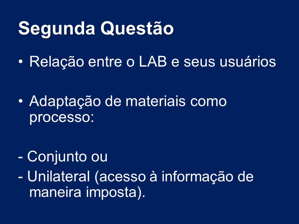 Segunda Questão Relação entre o LAB e seus usuários Adaptação de materiais como processo: - Conjunto ou - Unilateral ( acesso à informação de maneira