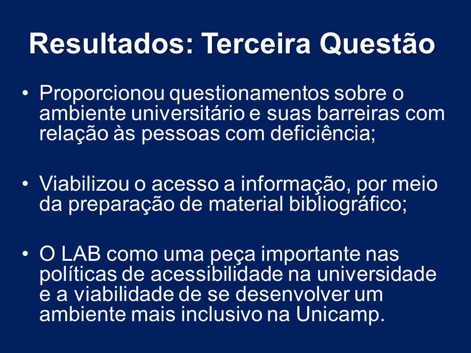 Resultados: Terceira Questão Proporcionou questionamentos sobre o ambiente universitário e suas barreiras com relação às pessoas com deficiência; Viab
