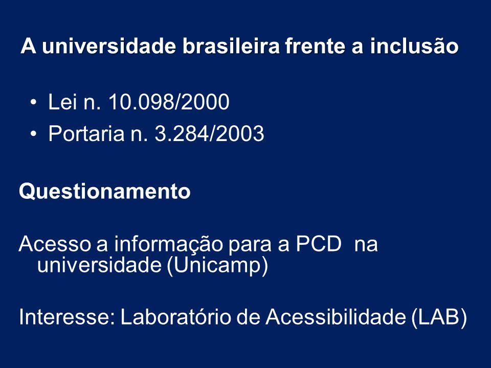 A universidade brasileira frente a inclusão Lei n. 10.098/2000 Portaria n. 3.284/2003 Questionamento Acesso a informação para a PCD na universidade (U