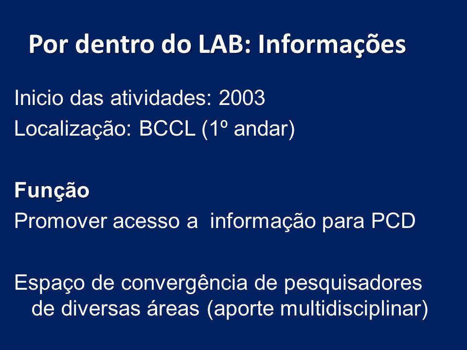 Por dentro do LAB: Serviços Digitalização, ampliação e conversão (áudio) de textos; (BRASIL 1998); Orientação ao uso das TCI Confecção de tabelas, gráficos e mapas táteis; Localização e obtenção de documentos; Normalização de trabalhos científicos.