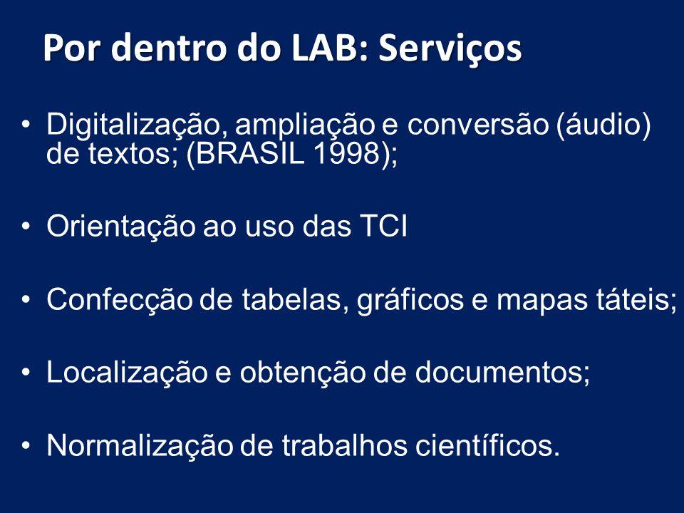 Por dentro do LAB: Serviços Digitalização, ampliação e conversão (áudio) de textos; (BRASIL 1998); Orientação ao uso das TCI Confecção de tabelas, grá