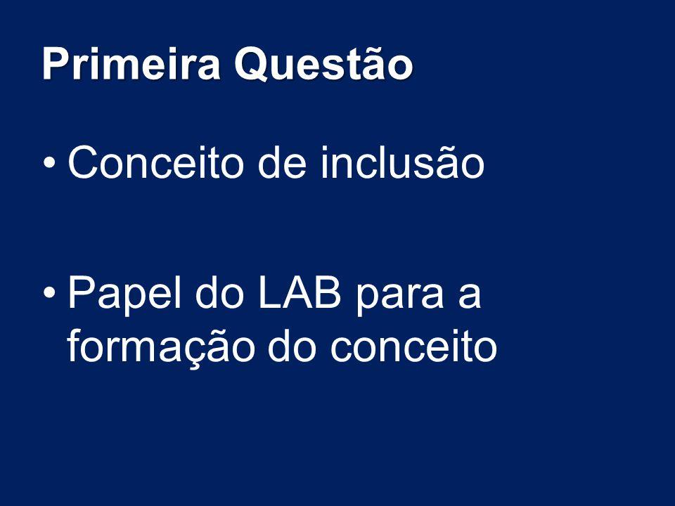 Primeira Questão Conceito de inclusão Papel do LAB para a formação do conceito