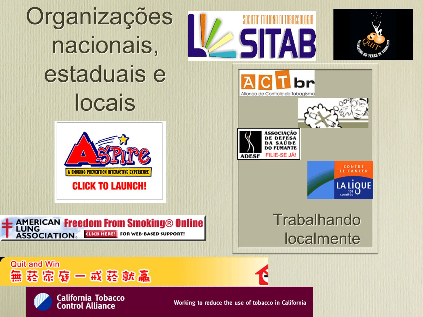 Coalisões regionais Global Partnerships for Tobacco Control Essential Action
