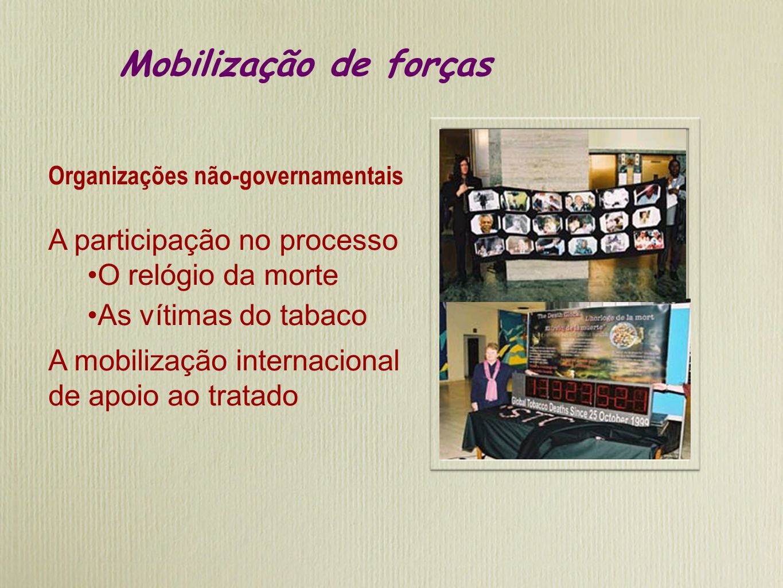 Mobilização de forças Organizações não-governamentais A participação no processo O relógio da morte As vítimas do tabaco A mobilização internacional de apoio ao tratado