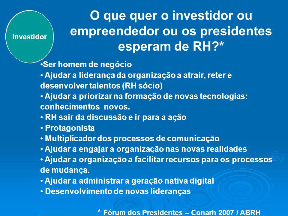 O que quer o investidor ou empreendedor ou os presidentes esperam de RH?* Ser homem de negócio Ajudar a liderança da organização a atrair, reter e des
