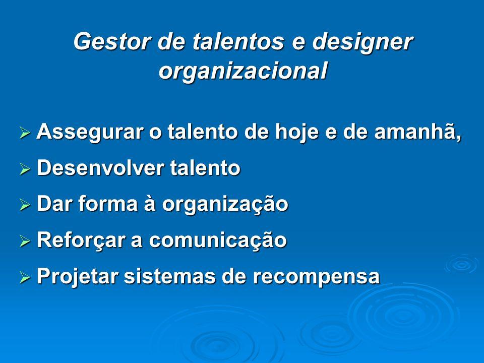 Gestor de talentos e designer organizacional Assegurar o talento de hoje e de amanhã, Assegurar o talento de hoje e de amanhã, Desenvolver talento Des