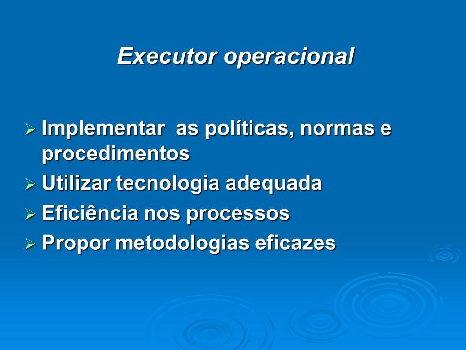 Executor operacional Implementar as políticas, normas e procedimentos Implementar as políticas, normas e procedimentos Utilizar tecnologia adequada Utilizar tecnologia adequada Eficiência nos processos Eficiência nos processos Propor metodologias eficazes Propor metodologias eficazes