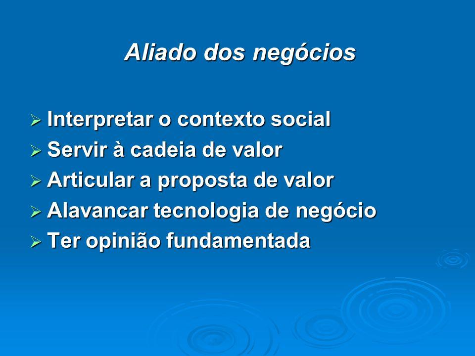 Aliado dos negócios Interpretar o contexto social Interpretar o contexto social Servir à cadeia de valor Servir à cadeia de valor Articular a proposta