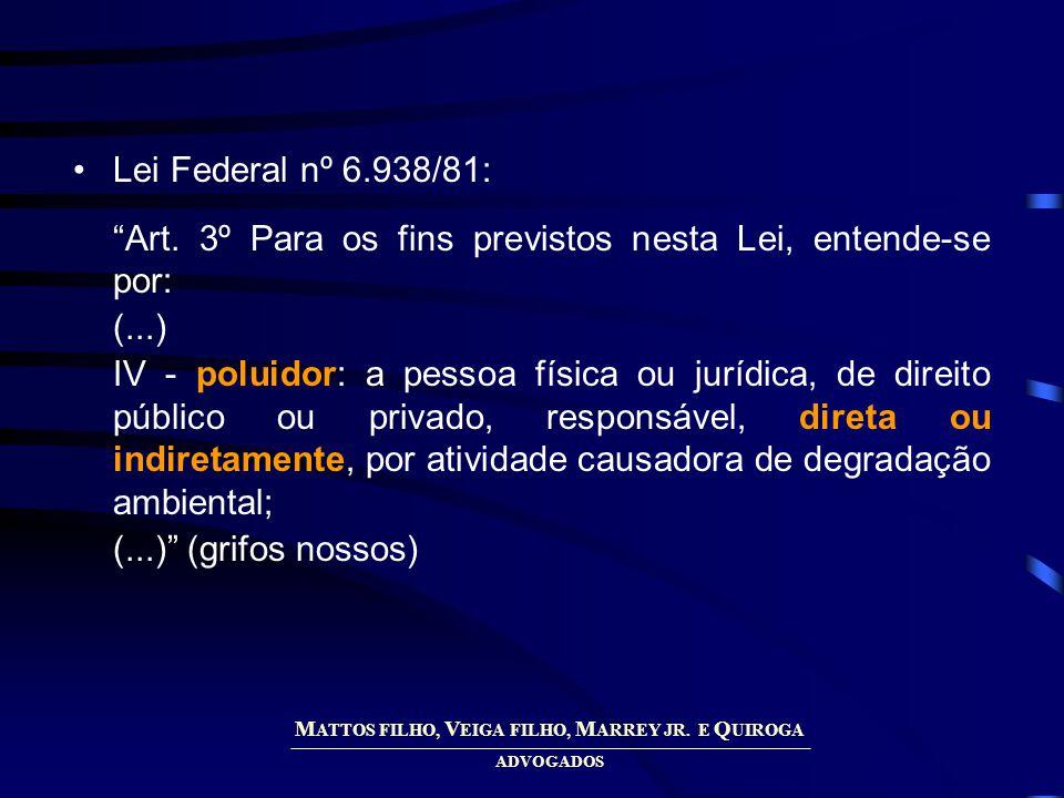 M ATTOS FILHO, V EIGA FILHO, M ARREY JR. E Q UIROGA ADVOGADOS Lei Federal nº 6.938/81: Art.