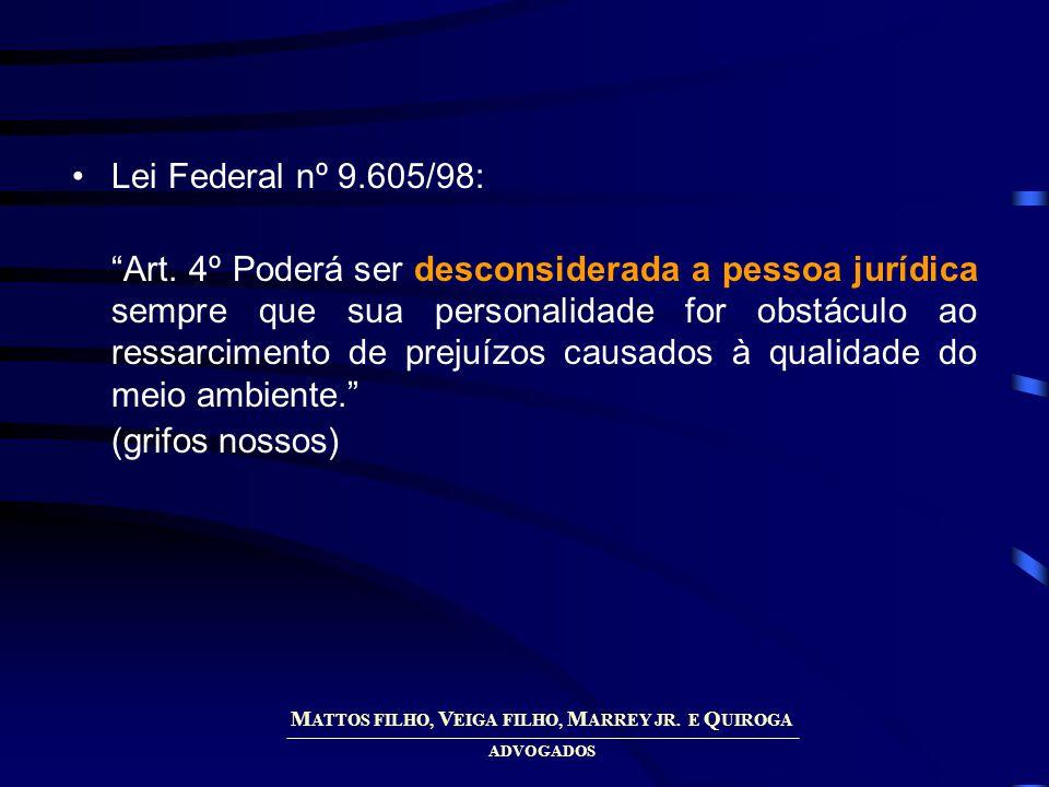 M ATTOS FILHO, V EIGA FILHO, M ARREY JR. E Q UIROGA ADVOGADOS Lei Federal nº 9.605/98: Art.