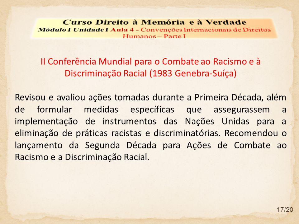 II Conferência Mundial para o Combate ao Racismo e à Discriminação Racial (1983 Genebra-Suíça) Revisou e avaliou ações tomadas durante a Primeira Déca