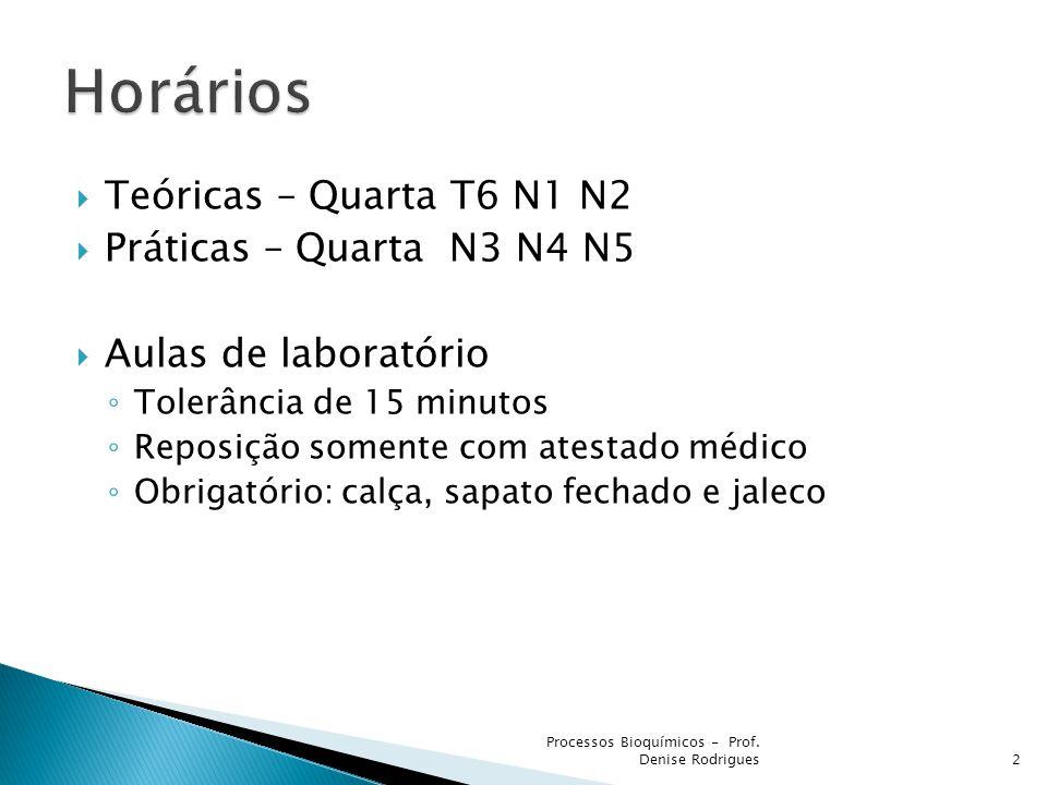 Teóricas – Quarta T6 N1 N2 Práticas – Quarta N3 N4 N5 Aulas de laboratório Tolerância de 15 minutos Reposição somente com atestado médico Obrigatório: calça, sapato fechado e jaleco 2 Processos Bioquímicos - Prof.