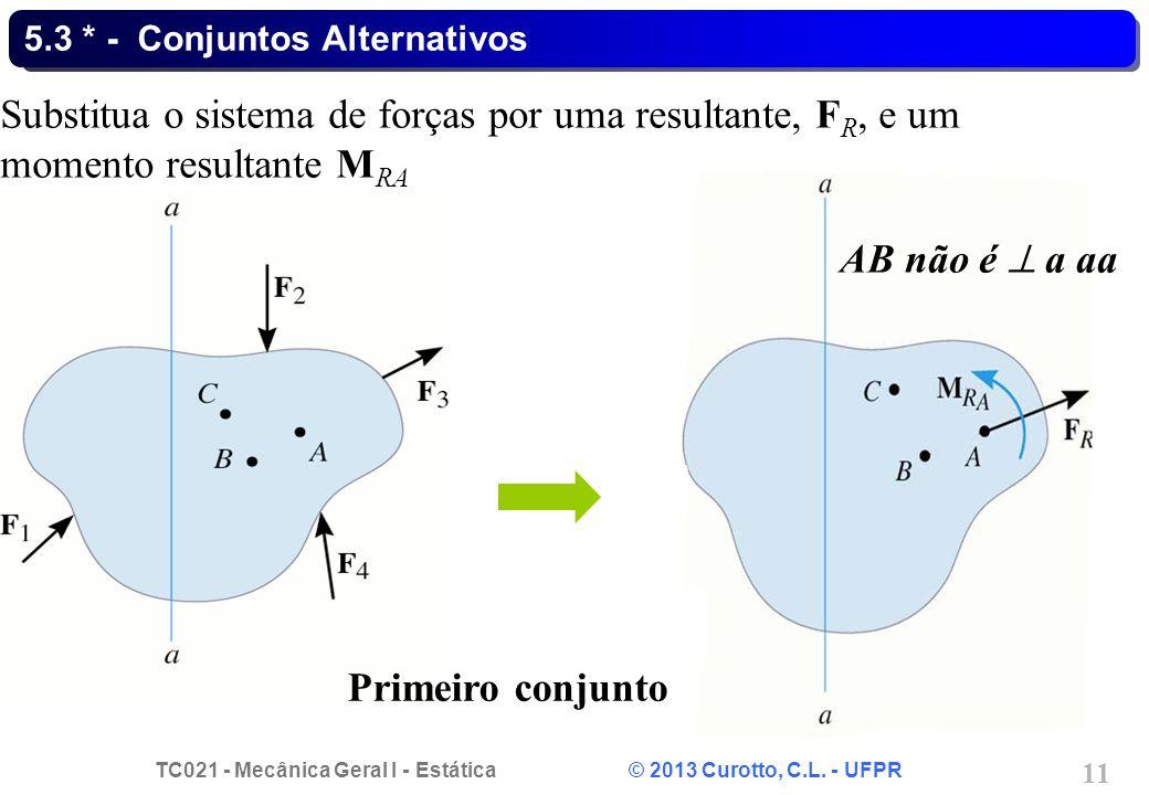 TC021 - Mecânica Geral I - Estática © 2013 Curotto, C.L. - UFPR 11 5.3 * - Conjuntos Alternativos AB não é a aa Substitua o sistema de forças por uma