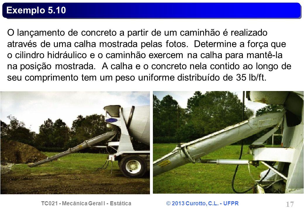 TC021 - Mecânica Geral I - Estática © 2013 Curotto, C.L. - UFPR 17 Exemplo 5.10 O lançamento de concreto a partir de um caminhão é realizado através d