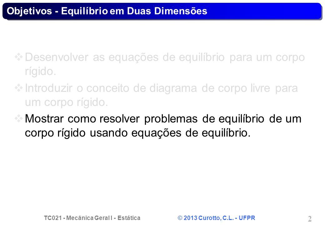 TC021 - Mecânica Geral I - Estática © 2013 Curotto, C.L. - UFPR 2 Objetivos - Equilíbrio em Duas Dimensões Desenvolver as equações de equilíbrio para